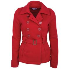 Belted Fleece Peacoat (1.695 RUB) ❤ liked on Polyvore featuring outerwear, coats, jackets, casaco, coats & jackets, pea jacket, fleece coat, red coat, belted coat and belted peacoat