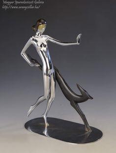 Art deco nő kutyával / Art deco woman with a dog Debreceni Lámpagyár, Made from wood and metal Wood And Metal, Dancer, Art Deco, Dog, Woman, Diy Dog, Dancers, Doggies, Women