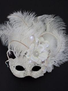 Unique Wedding Ivory White Light Up Venetian Masquerade Mask