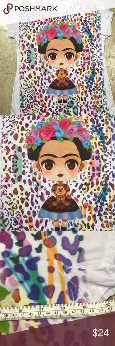 ❤️New Frida Kahlo T-Shirt Cotton Stretchy Tee Lrg New size large Cielito Lindo  Tops Tees - Short Sleeve