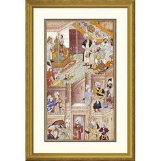 Global Gallery 'Illustration To The Baburnama' by Khem Karan Framed Painting Print Size: