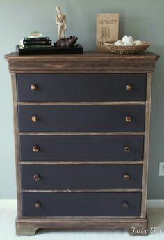 Beautiful antique dresser painted in steel gray chalk paint