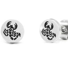R&B Schmuck Herren Ohrstecker Ohrringe - Skorpion, Sternzeichen (Durchmesser 8mm, Paar, Schwarz, Silber): 9,90€