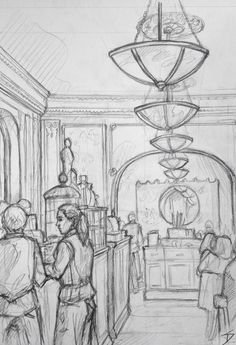 Quick Sketch. 'Cafe Louvre, Prague.' If you want to know what it would have felt like to grab a coffee in early 1900s Europe, this cafe will take you there. It's over a century old. davidasutton.com @davidasutton #drawing #sketch #czech #prague #europe #cafelouvreprague