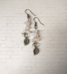 Clear color сhip stone whimsical earrings botanical woodland