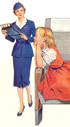 Ad detail for Pan American Airlines (Pan Am) 1955 - painting by Norman Rockwell