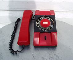 Red Rotary Dial Telephone Vintage Russian Desk by MerilinsRetro