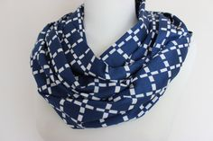Navy Blue White Infinity Scarf Spring Scarf by ScarfAngel on Etsy
