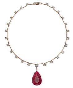 Riviera Necklace in 18K Rose Gold with Mozambique Ruby and Diamonds. Handmade and one of a kind, similar pieces available for special order upon request.