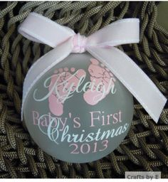 Hey, I found this really awesome Etsy listing at https://www.etsy.com/listing/121174736/babys-first-christmas-ornament-pinkwhite