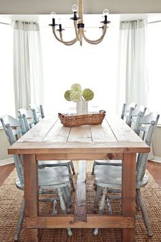 farmhouse table and painted chairs ~ love!