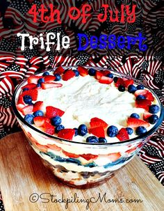 4th of July Trifle Dessert recipe is perfect for a family holiday party! Kids and adults will love this patriotic treat.