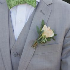 Pastel Rose and Eucalyptus Boutonniere - but with white flower