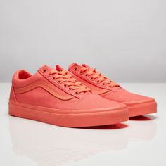 Shoes: bright sneakers, sneakers, coral, vans, spring accessory - Wheretoget