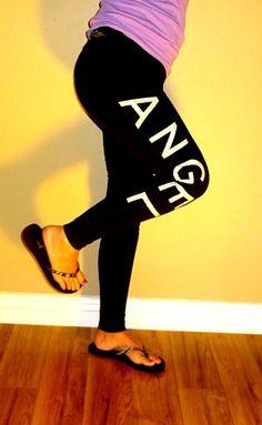 Victorias Secret VSX angel wings sport black sequin womens leggings pants   XS #VictoriasSecret
