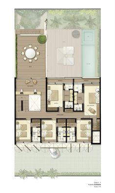 empreendimentos residenciais casa de praia - Buscar con Google #casasdecampo Beach House Floor Plans, Dream House Plans, Modern House Plans, Contener House, House Map, Villa Design, Floor Design, House Design, Studio Arthur Casas