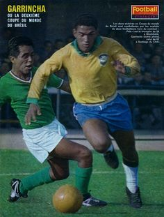 Garrincha, in action against Mexico, during the 1962 World Cup in Chile.