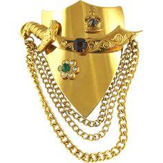 Vintage Coro Jeweled  Shield & Scimitar Pin