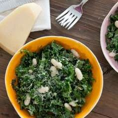 Raw kale salad with lemon & parmesan