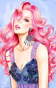 Pink - Watercolor Fashion illustration: on We Heart It Designs To Draw, Illustrators, Pink Watercolor, Illustration, Fashion Illustration Watercolor, Creative, Fashion Illustration, Female Art, Art