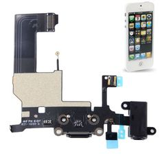[USD2.35] [EUR2.20] [GBP1.72] Dock Connector with Headphone Jack Flex Cable Repair Replacement for iPhone 5 (Black)