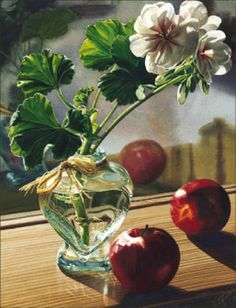 Geraniums and Apples watercolor by Carol Evans