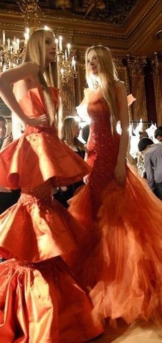 World Of Fashion, High Fashion, Fashion Show, Orange Mode, Orange Fashion, Orange Dress, Orange Outfits, Orange Is The New Black, Beautiful Gowns