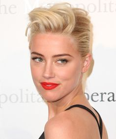 Amber Heard orange coral lips and gold eyes . perfect summer look!