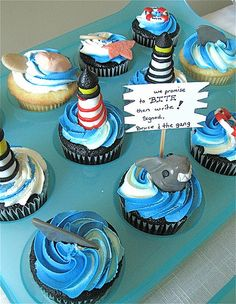 shark and lighthouse cupcakes