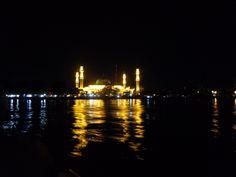 Mosque in Samarinda by night. Borneo, Mosque, New York Skyline, Night, Travel, Viajes, Mosques, Destinations, Traveling