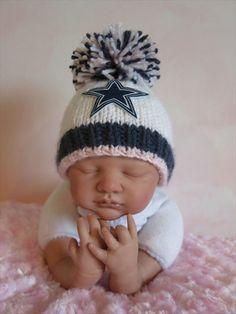 Dallas Cowboys Baby GIRL Beanie Hat in Stark by babyknitsnfrills, $15.25