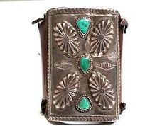 Old-Pawn-Navajo-1920s-Silver-Turquoise-Bow-Guard-Native-History