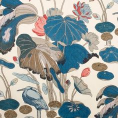 Nympheus Print Teal by Lee Jofa Fabric Heritage Linen Thailand - H: 25 inches, V: 42 inches 50 inches - Fabric Carolina - Lee Jofa Motifs Textiles, Textile Patterns, Textile Design, Print Patterns, Floral Patterns, Illustrations, Illustration Art, Motifs Art Nouveau, Teal Fabric