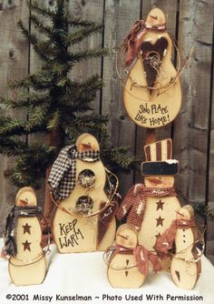 000045 (1) Six Pack of Snowmen-Snowmen, Snowman, Christmas, Holidays, gifts, crafts, woodkits, bee'in creative with Mis