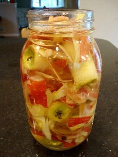 Apple cider vinegar is so good for you! And you wouldn't believe how easy it is to make homemade apple cider vinegar from apple scraps. Recipe from Real Food Real Deals.
