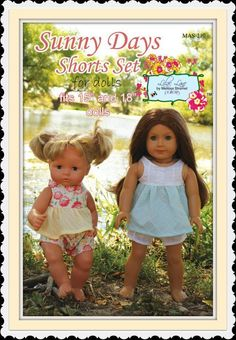 Start summer off right with the Sunny Days Shorts Set for dolls. This  pattern was created to match the Sunny Days Shorts Set for girls. It  features a gathered bodice and sweet shorts. Mix and match fabrics for  your favorite designer look.