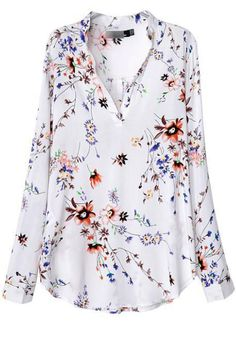 Shop White V Neck Long Sleeve Floral Blouse online. SheIn offers White V Neck Long Sleeve Floral Blouse & more to fit your fashionable needs. Spring Blouses, Moda Chic, White V Necks, Mode Style, Fashion Prints, Fashion Design, Blouse Designs, Shirt Blouses, Blouses For Women