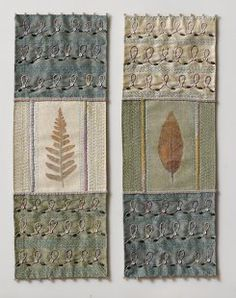 Autumn Leaf Diptych. Mixed media hand embroidered collage by Vicki Lucas