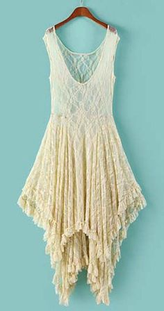 White Round Neck High Low Hem Lace Dress