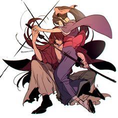 Pixiv Id 3902051, Rurouni Kenshin, Kamiya Kaoru, Himura Kenshin, Tabi, High Ponytail