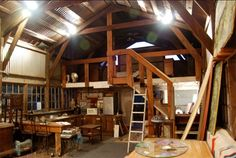 Inside of a barn, converted to house.