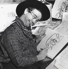 "Ward Kimball animating for Disney's ""Pecos Bill""."