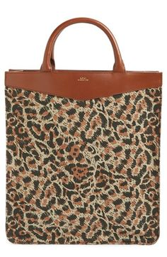 A.P.C. 'Cabas Rose' Leopard Print Canvas Tote. #a.p.c. #bags #leather #hand bags #canvas #tote #