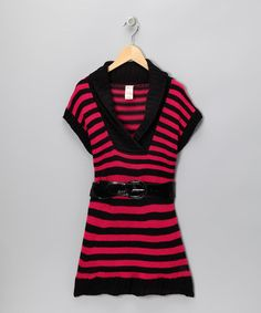 Take a look at this Fuchsia Stripe Belted Sweater Dress - Toddler & Girls by Chillipop on #zulily today!