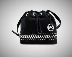 New Michael Kors Suede Jules Hippie Grommet Medium Drawstring Messenger Black #MichaelKors #DrawstringMessenger