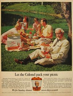 1967 Kentucky Fried Chicken Ad ~ Colonel at a Picnic,