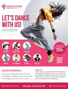 The inspiring Dance Class Schedule Template – Cards Design Templates In Dance Flyer Template Word images below, is part of … Hip Hop Dance Studio, Dance Studio Design, Dance Class, Class Schedule Template, Flyer Template, John Neumeier, 1million Dance Studio, Dance Workshop, Web Design