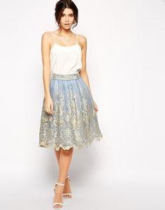 Chi Chi London Premium Metallic Lace Full Midi Skirt - Cornflower