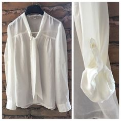 Loft Top with Tie Great Condition, has tie, button down, adjustable sleeve,Ivory LOFT Tops Blouses