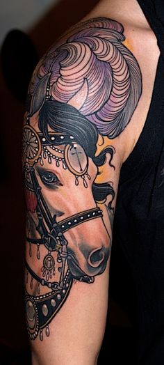 Horse tattoos are uncommon and can make great style symbols. Here are ten horse tattoo designs that you can try out. Gorgeous Tattoos, Great Tattoos, Kunst Tattoos, Body Art Tattoos, Tatoos, Tattoo Ink, Carousel Horse Tattoos, Tattoos Lindas, Insane Tattoos